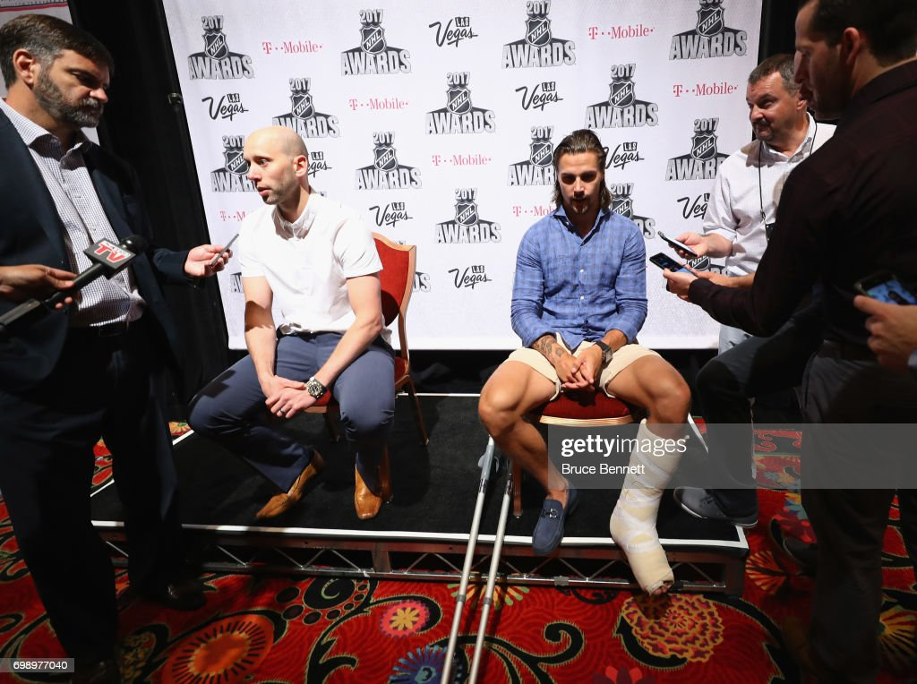 Craig Anderson and Erik Karlsson of the Ottawa Senators are interviewed during media availability for the 2017 NHL Awards at the Encore Las Vegas on June 20, 2017 in Las Vegas, Nevada.