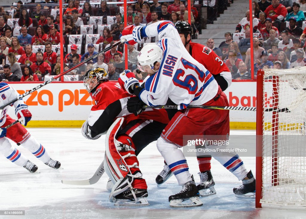 Craig Anderson #41 and Marc Methot #3 of the Ottawa Senators defend against Rick Nash #61 of the New York Rangers in Game One of the Eastern Conference Second Round during the 2017 NHL Stanley Cup Playoffs at Canadian Tire Centre on April 27, 2017 in Ottawa, Ontario, Canada.