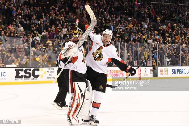 Craig Anderson and Mark Stone of the Ottawa Senators celebrate a shoot out win against the Boston Bruins at the TD Garden on April 6 2017 in Boston...