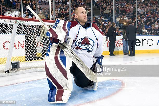 Craig Anderson of the Colorado Avalanche rests before a game against the Edmonton Oilers at Rexall Place on October 27, 2009 in Edmonton, Alberta,...