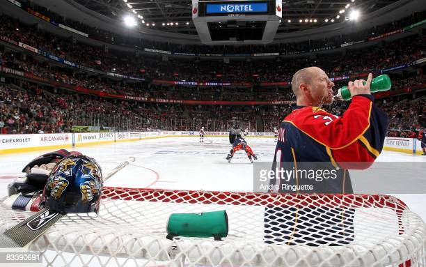 Craig Anderson of the Florida Panthers drinks from his water bottle moments before starting against the Ottawa Senators at Scotiabank Place on...