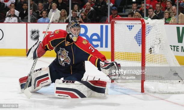 Craig Anderson of the Florida Panthers looks at a shot that goes wide in a game against the Ottawa Senators at Scotiabank Place on October 22 2008 in...
