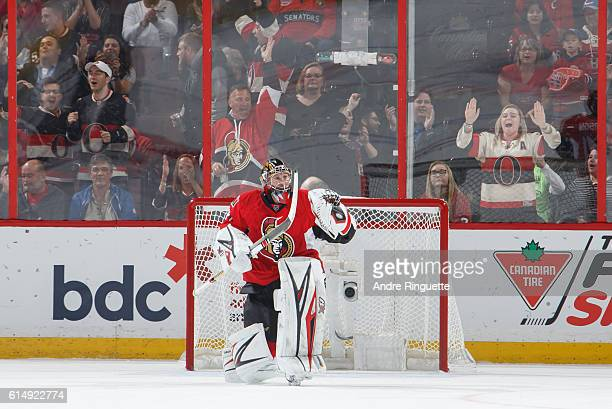 Craig Anderson of the Ottawa Senators celebrates a win after the shootout against the Montreal Canadiens at Canadian Tire Centre on October 15 2016...