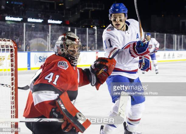 Craig Anderson of the Ottawa Senators defends the net against Brendan Gallagher of the Montreal Canadiens during the of the 2017 Scotiabank NHL100...