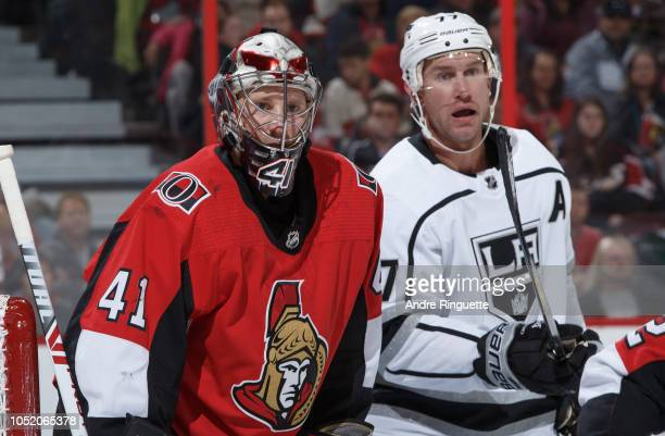 Craig Anderson of the Ottawa Senators guards his net against Jeff Carter of the Los Angeles Kings at Canadian Tire Centre on October 13 2018 in...