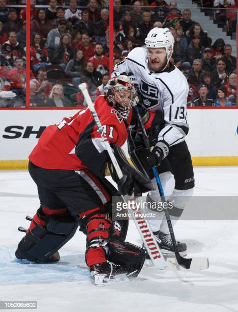 Craig Anderson of the Ottawa Senators guards his net against Kyle Clifford of the Los Angeles Kings at Canadian Tire Centre on October 13 2018 in...