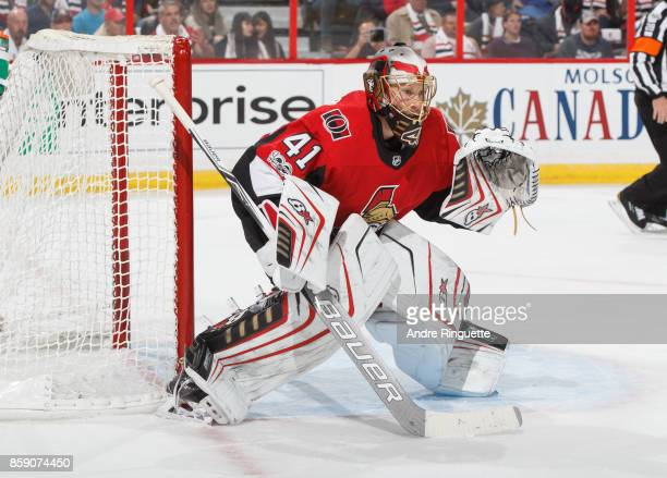 Craig Anderson of the Ottawa Senators guards his net against the Washington Capitals at Canadian Tire Centre on October 5 2017 in Ottawa Ontario...