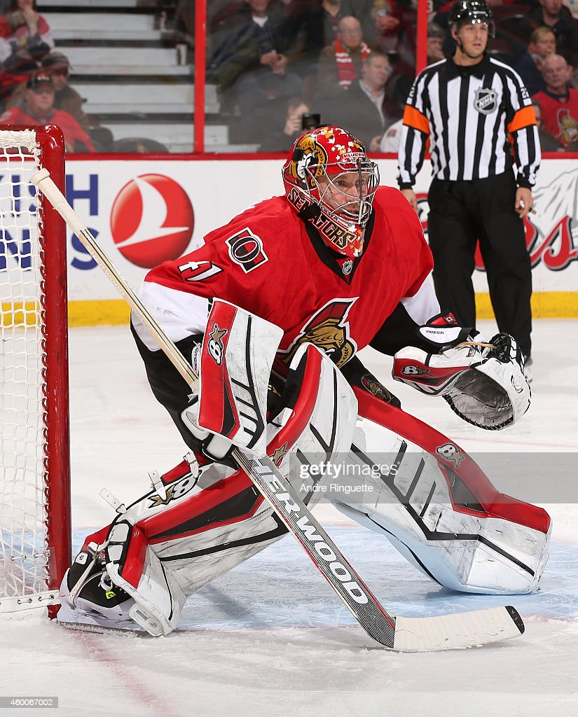 Craig Anderson #41 of the Ottawa Senators guards his net against the New York Islanders at Canadian Tire Centre on December 4, 2014 in Ottawa, Ontario, Canada.