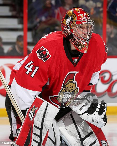 Craig Anderson of the Ottawa Senators guards his net against the Toronto Maple Leafs at Canadian Tire Centre on January 21 2015 in Ottawa Ontario...