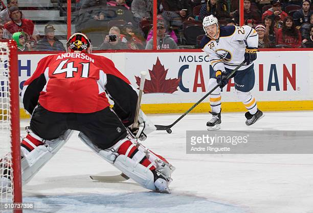 Craig Anderson of the Ottawa Senators guards his net as Sam Reinhart of the Buffalo Sabres sets up a shot at Canadian Tire Centre on February 16 2016...