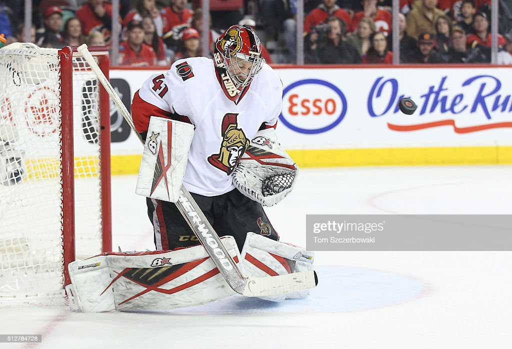 Craig Anderson #41 of the Ottawa Senators guards the net as a shot goes high of the net during their NHL game against the Calgary Flames at the Scotiabank Saddledome on February 27, 2016 in Calgary, Alberta, Canada.