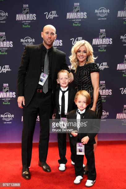 Craig Anderson of the Ottawa Senators his wife Nicholle Anderson and their sons Jake Anderson and Levi Anderson arrive at the 2018 NHL Awards...