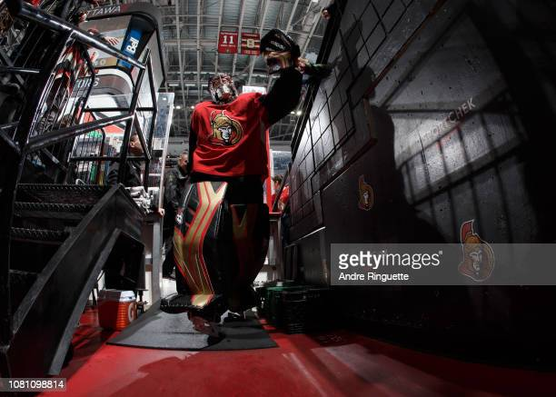 Craig Anderson of the Ottawa Senators leaves the ice after warmup prior to a game against the Boston Bruins at Canadian Tire Centre on December 9...