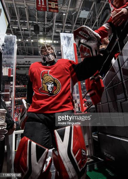 Craig Anderson of the Ottawa Senators leaves the ice after warmup prior to a game against the Toronto Maple Leafs at Canadian Tire Centre on March 30...