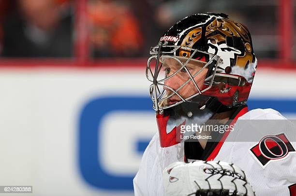 Craig Anderson of the Ottawa Senators looks on against the Philadelphia Flyers on November 15 2016 at the Wells Fargo Center in Philadelphia...
