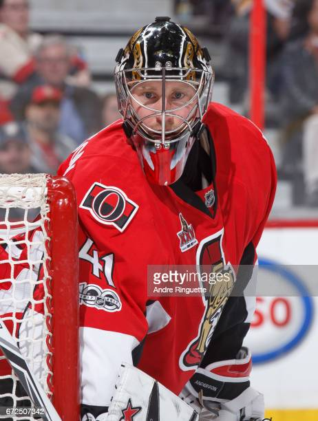 Craig Anderson of the Ottawa Senators looks on as he guards his net against the Boston Bruins in Game Five of the Eastern Conference First Round...