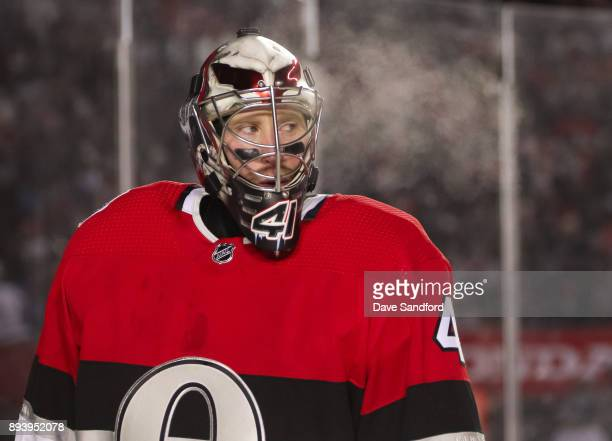 Craig Anderson of the Ottawa Senators looks on between whistles in a game against the Montreal Canadiens during the 2017 Scotiabank NHL100 Classic at...