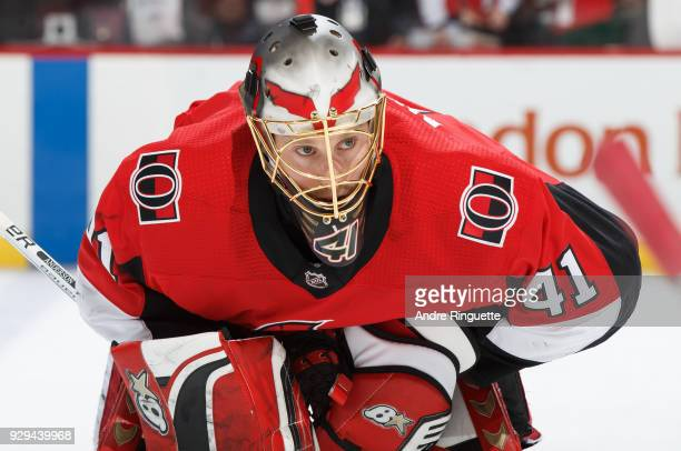 Craig Anderson of the Ottawa Senators looks on during warmup prior to a game against the Buffalo Sabres at Canadian Tire Centre on March 8 2018 in...