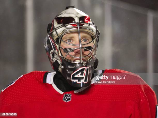 Craig Anderson of the Ottawa Senators looks on in a game against the Montreal Canadiens during the 2017 Scotiabank NHL100 Classic at Lansdowne Park...