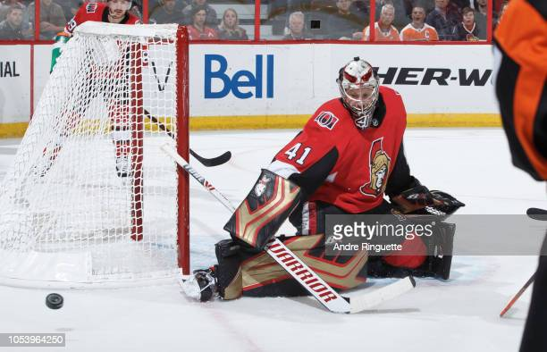 Craig Anderson of the Ottawa Senators makes a save against the Philadelphia Flyers at Canadian Tire Centre on October 10 2018 in Ottawa Ontario Canada