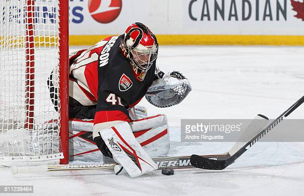 Craig Anderson of the Ottawa Senators makes a save against the Carolina Hurricanes at Canadian Tire Centre on February 18 2016 in Ottawa Ontario...