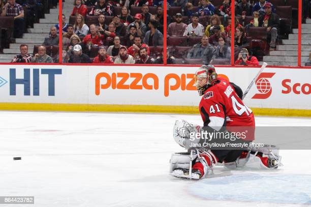 Craig Anderson of the Ottawa Senators makes a save against the Vancouver Canucks at Canadian Tire Centre on October 17 2017 in Ottawa Ontario Canada