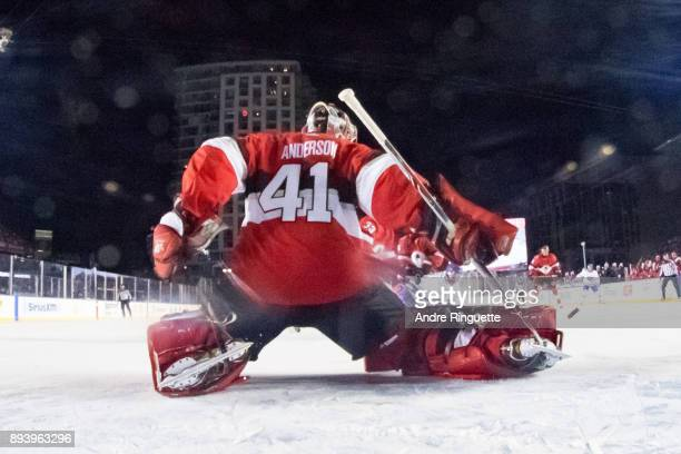 Craig Anderson of the Ottawa Senators makes a save against the Montreal Canadiens in the 2017 Scotiabank NHL100 Classic at Lansdowne Park on December...