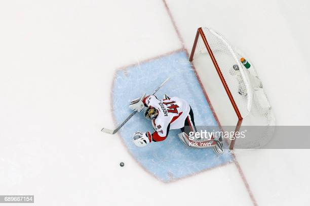 Craig Anderson of the Ottawa Senators makes a save in Game Seven of the Eastern Conference Final during the 2017 NHL Stanley Cup Playoffs against the...