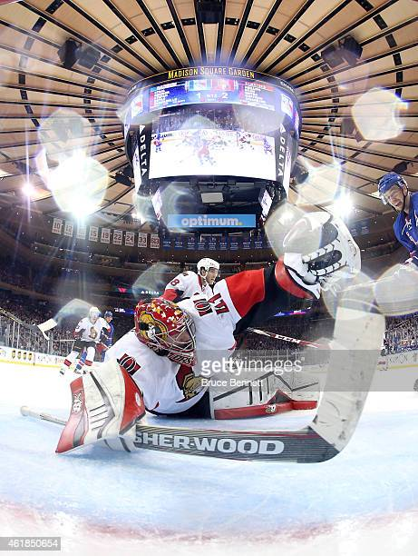 Craig Anderson of the Ottawa Senators makes a save in the second period against the New York Rangers during their game at Madison Square Garden on...