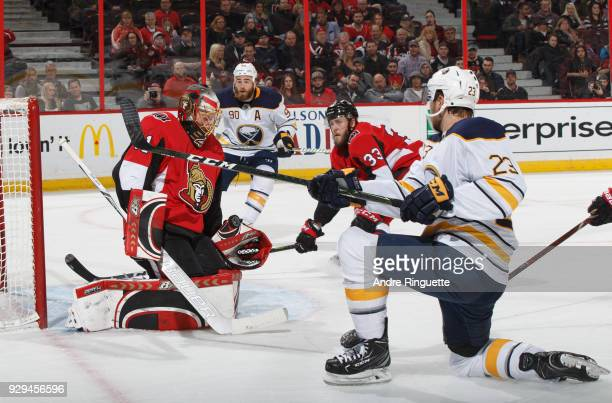 Craig Anderson of the Ottawa Senators makes a save off an inclose shot by Sam Reinhart of the Buffalo Sabres at Canadian Tire Centre on March 8 2018...