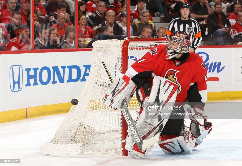 Craig Anderson #41 of the Ottawa Senators makes one of forty-nine saves against the Pittsburgh Penguins in Game Three of the Eastern Conference Semifinals during the 2013 NHL Stanley Cup Playoffs, at Scotiabank Place, on May 19, 2013 in Ottawa, Ontario, Canada.
