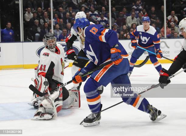 Craig Anderson of the Ottawa Senators makes the save on Mathew Barzal of the New York Islanders at NYCB Live's Nassau Coliseum on March 05 2019 in...