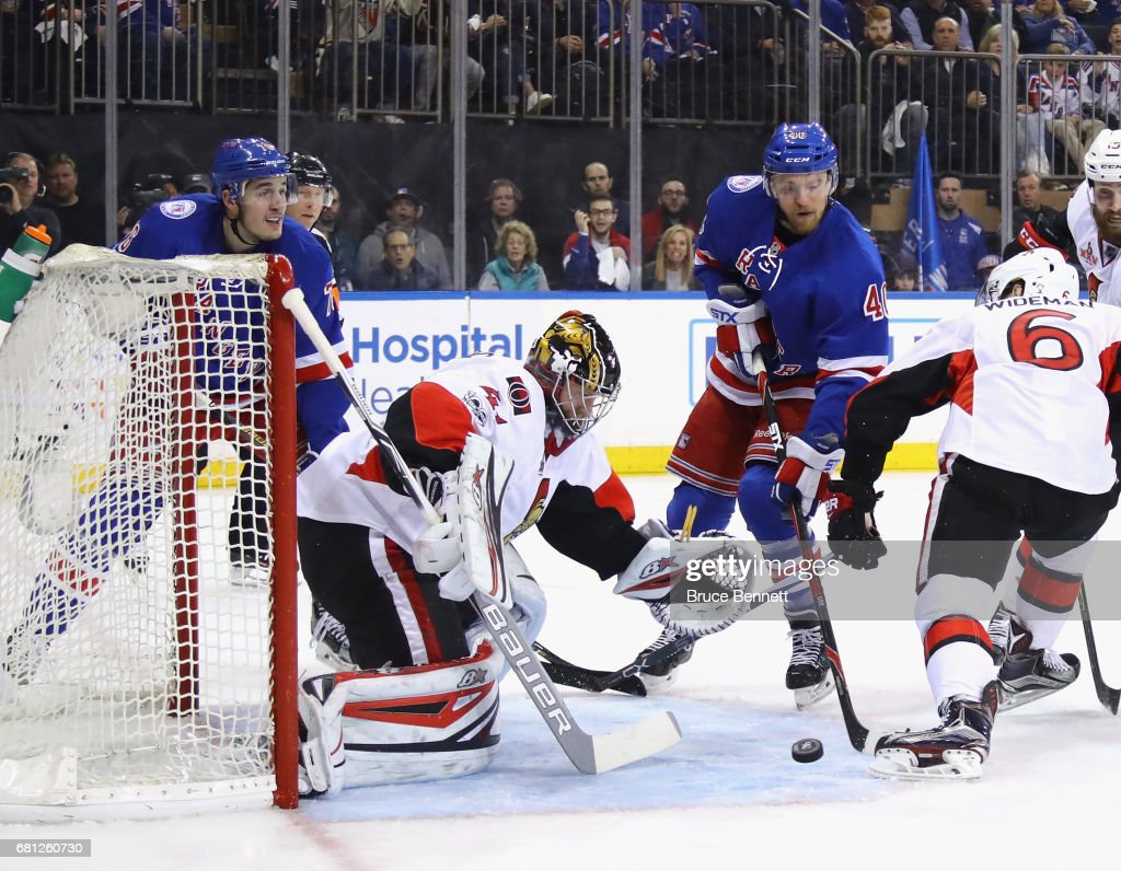 Craig Anderson #41 of the Ottawa Senators makes the save on Michael Grabner #40 of the New York Rangers in Game Six of the Eastern Conference Second Round during the 2017 NHL Stanley Cup Playoffs at Madison Square Garden on May 9, 2017 in New York City. The Senators defeated the Rangers 4-2.