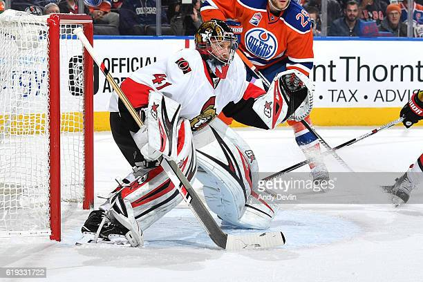 Craig Anderson of the Ottawa Senators prepares to make a save during the game against the Edmonton Oilers on October 30 2016 at Rogers Place in...