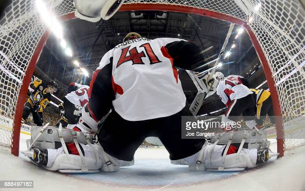 Craig Anderson of the Ottawa Senators protects the net against the Pittsburgh Penguins in Game Seven of the Eastern Conference Final during the 2017...