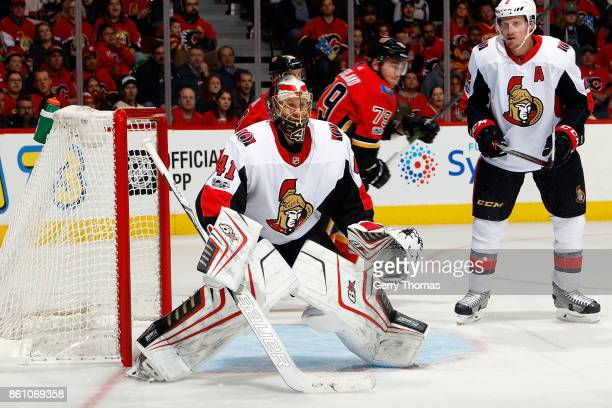 Craig Anderson of the Ottawa Senators skates in net against the Calgary Flames during an NHL game on October 13 2017 at the Scotiabank Saddledome in...