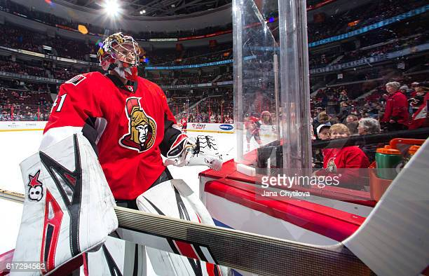 Craig Anderson of the Ottawa Senators steps off the ice prior to a game against the Tampa Bay Lightning at Canadian Tire Centre on October 22 2016 in...