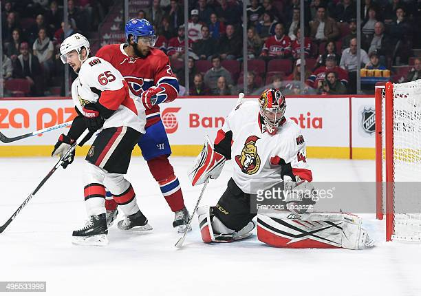 Craig Anderson of the Ottawa Senators stops a shot by the Montreal Canadiens in the NHL game at the Bell Centre on November 3 2015 in Montreal Quebec...