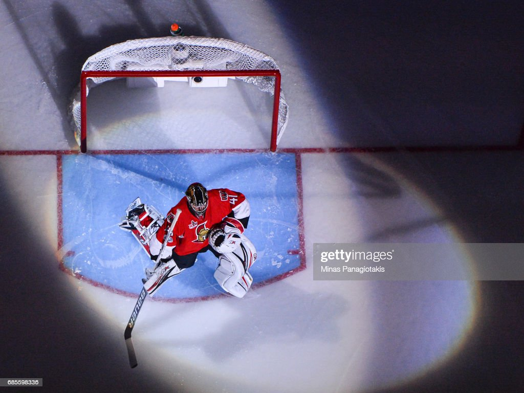 Craig Anderson #41 of the Ottawa Senators stretches during the pre game ceremony against the Pittsburgh Penguins in Game Four of the Eastern Conference Final during the 2017 NHL Stanley Cup Playoffs at Canadian Tire Centre on May 19, 2017 in Ottawa, Ontario, Canada. The Pittsburgh Penguins defeated the Ottawa Senators 3-2.