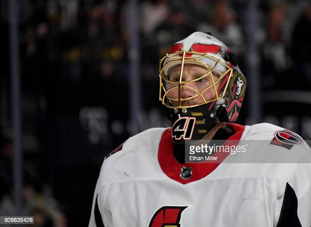 Craig Anderson of the Ottawa Senators takes a break during a stop in play in the second period of a game against the Vegas Golden Knights at TMobile...