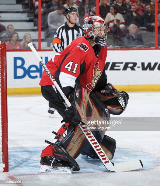Craig Anderson of the Ottawa Senators tends net against the Philadelphia Flyers at Canadian Tire Centre on October 10 2018 in Ottawa Ontario Canada