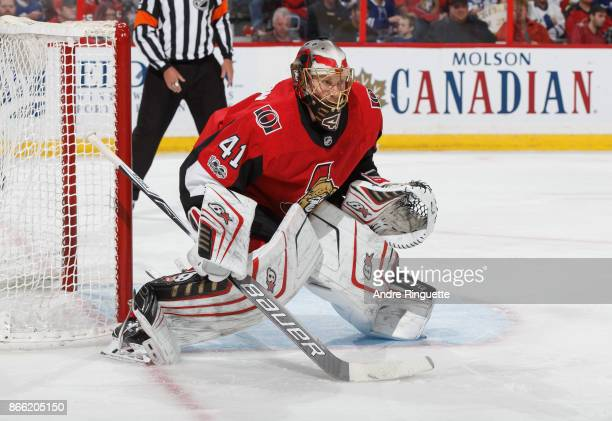 Craig Anderson of the Ottawa Senators tends net against the Toronto Maple Leafs at Canadian Tire Centre on October 21 2017 in Ottawa Ontario Canada