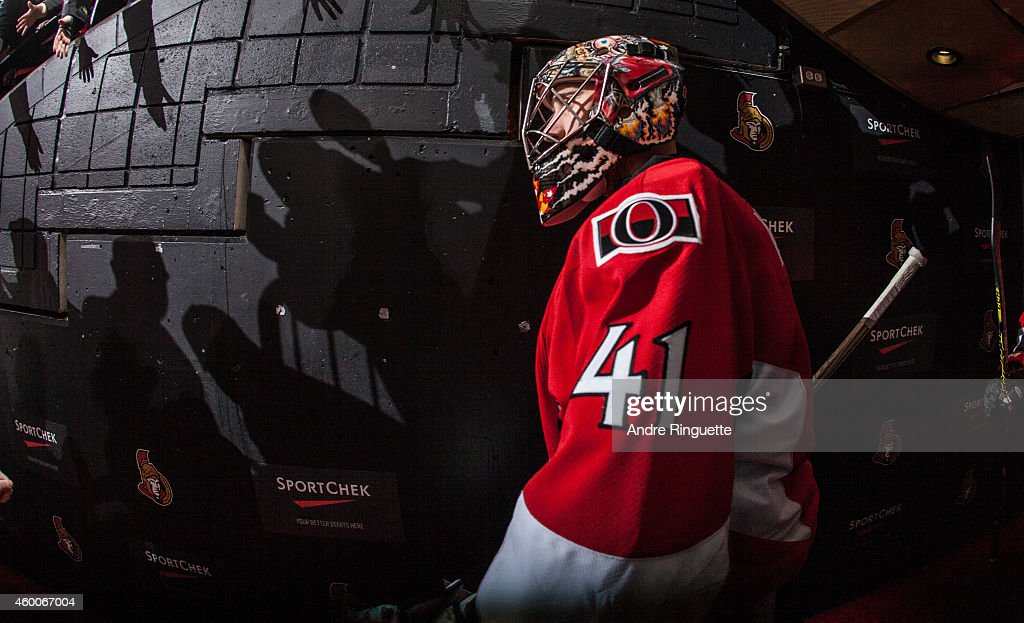 Craig Anderson #41 of the Ottawa Senators walks down the players' tunnel for warmup prior to a game against the New York Islanders at Canadian Tire Centre on December 4, 2014 in Ottawa, Ontario, Canada.