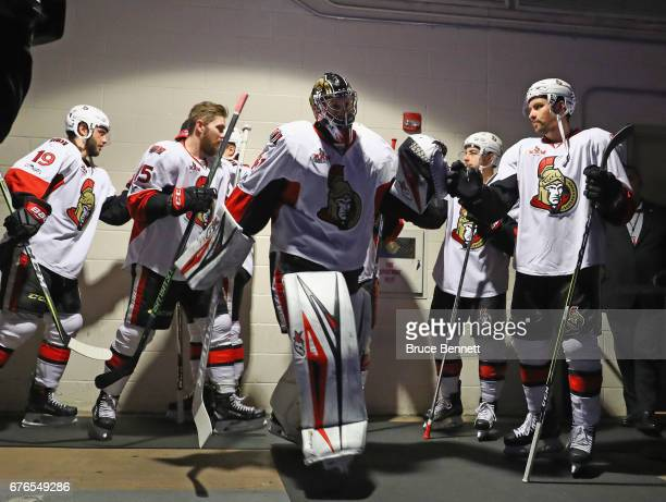 Craig Anderson of the Ottawa Senators walks out for warmups prior to the game against the New York Rangers in Game Three of the Eastern Conference...