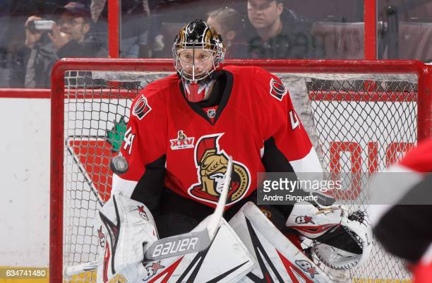 Craig Anderson of the Ottawa Senators warms up prior to a game against the New York Islanders at Canadian Tire Centre on February 11 2017 in Ottawa...