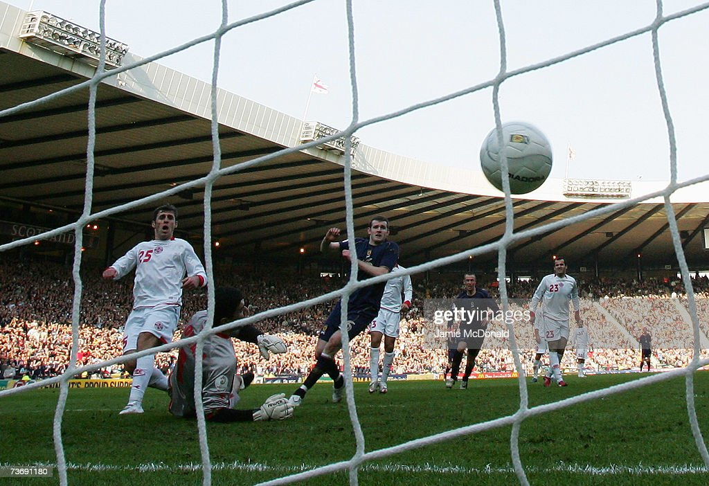 Craig Beattie scores the winning goal for Scotland during the Euro2008, Group B, qualifier between Scotland and Georgia on March 24, 2007 at Hampden Park, Glasgow, Scotland.