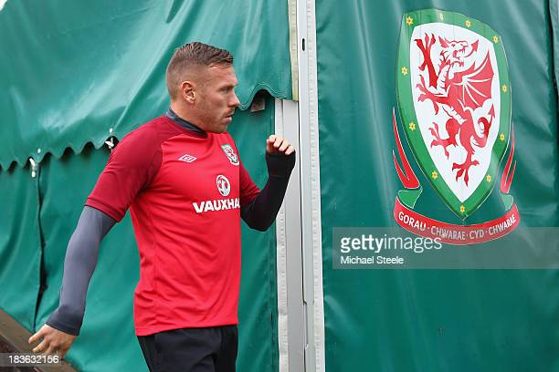 Craig Bellamy arrives ahead of the Wales training session at the Vale of Glamorgan complex on October 8 2013 in Cardiff Wales