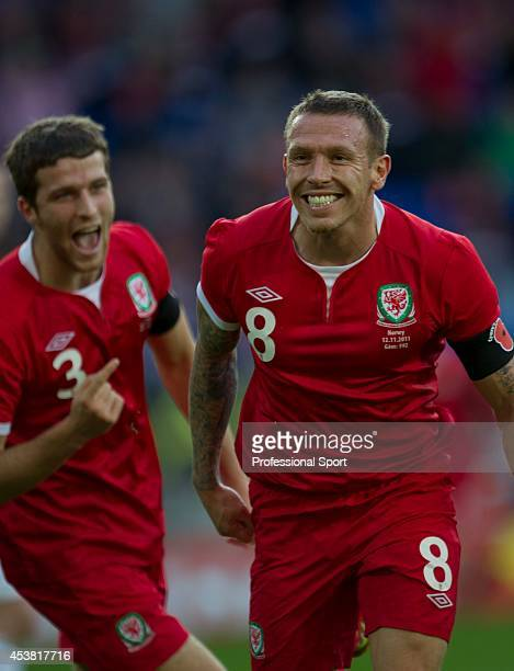 Craig Bellamy celebrates after scoring Wales' second goal during the Wales v Norway International Friendly match at the Cardiff City Stadium on...