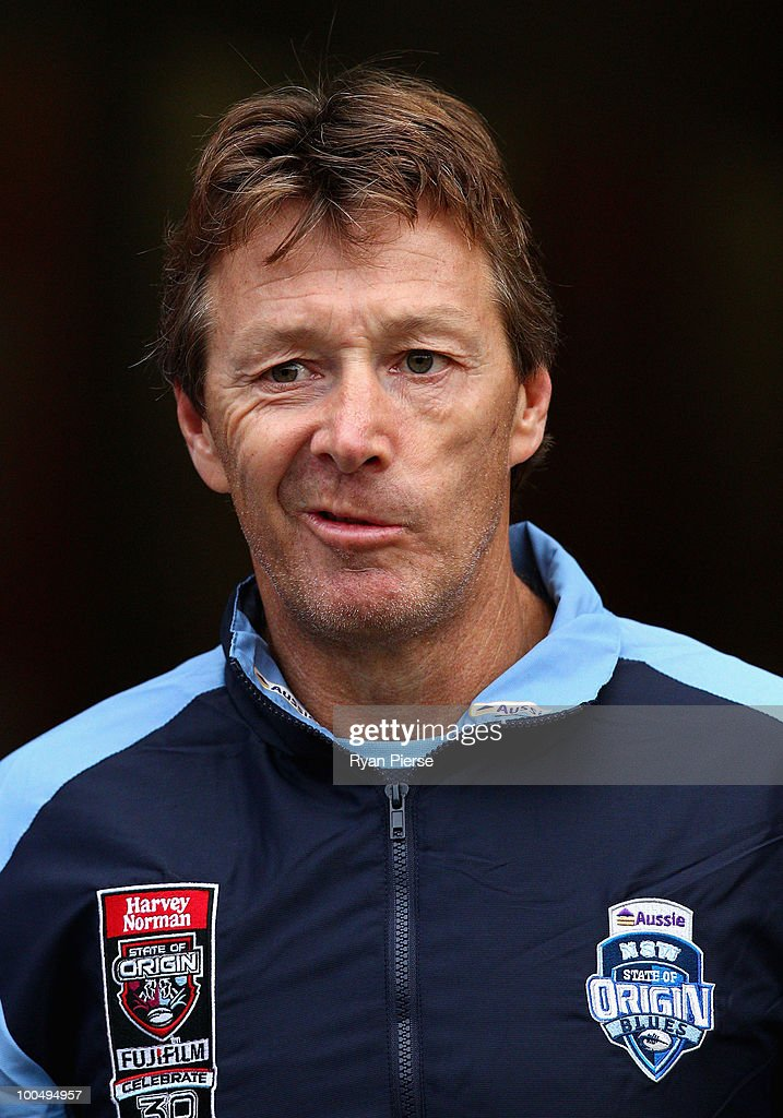 Craig Bellamy, coach of the NSW Blues, walks out onto the field during a NSW Blues training session ahead of tomorrow's State Of Origin Game I at ANZ Stadium on May 25, 2010 in Sydney, Australia.