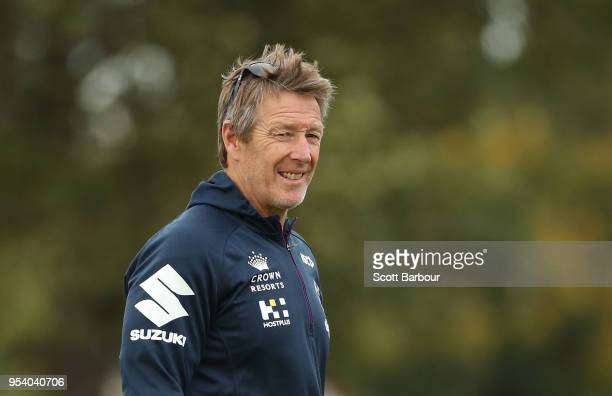 Craig Bellamy coach of the Storm looks on during a Melbourne Storm NRL training session at Gosch's Paddock on May 3 2018 in Melbourne Australia